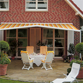 Patio awning with gable feature