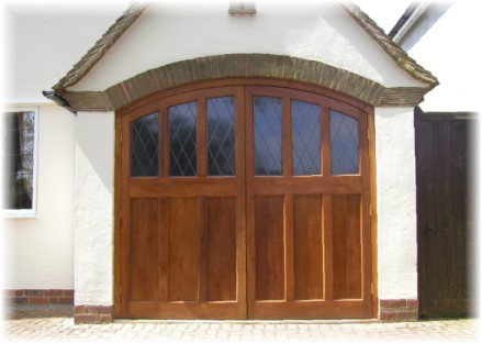 timber side hinged garage door with windows