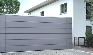 Aluminium clad sectional door in special finish