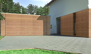 timber clad electric operated sectional door