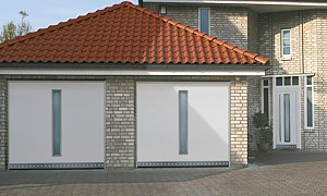 style 62 up and over garage door with glazed centre section