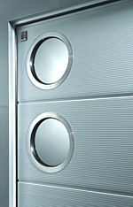 Carteck micrograin sectional door with round window options