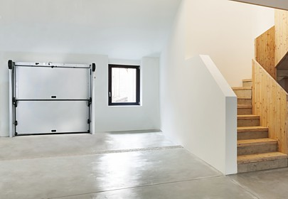 Inside a garage with a delta sectional door
