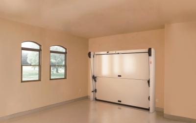 Overlap sectional door viewed from inside