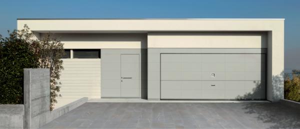 Matching overlap sectional garage door and entrance door