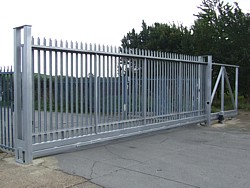 Sliding gate on Fosse Way, Warwickshire
