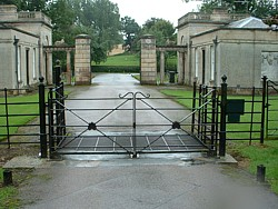 Pair of steel paddock style gates at Cottesbrooke, Northamptonshire