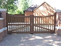 Pair of timber swing gates in Oakham, Rutland