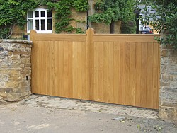 European Oak timber sliding gate in Ecton, Northampton