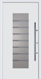 Hormann ThermoSafe Entrance Door - Style 136, horizontal lines, sand blasted glass