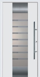 Hormann ThermoSafe Entrance Door - Style 166, horizontal sand blasted stripes on translucent glass panes