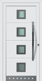 Hormann ThermoSafe Entrance Door - Style 173, large handle, horizontal ribbed dented stripes, designer colour square sections