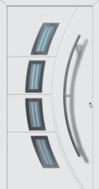 Hormann ThermoSafe Entrance Doors - Style 188, curved rectangular designs, curved handle, ribbed sections
