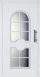 Hormann ThermoSafe Front Entrance Door - Style 413, circle central to rounded glass designs