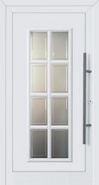 Hormann ThermoSafe Entrance Doors - Style 449, 8 glazed panels provide light and vision, white surround