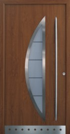hormann style 45-5 in decograin with centre curved glazed section