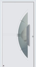 Hormann ThermoSafe Entrance Door - Style 553, white with crescent glazed section and semi-circle handle shape