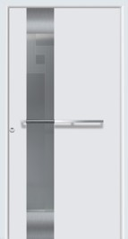 Hormann ThermoSafe Entrance Door - Style 555, vertical strip, horizontal handle, white