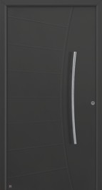 hormann style 556 black front door with slightly arched handle placed vertically