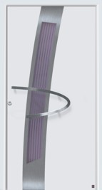 hormann strong house door with beautiful appearance, purple glazing and boomerang shape handle