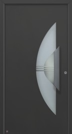 black front entrance sdoor with semi circle frosted glass