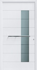 Hormann ThermoSafe Entrance Door - Style 667, horizontal handle bar and green design