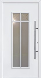 standard traditional hormann entrance door style 675 with large glazed panels and white border