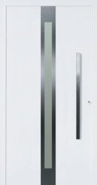 Hormann ThermoSafe White Entrance Door - Style 686, metallic and glass strip