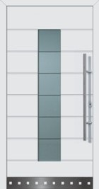 Hormann ThermoSafe Entrance Door - Style 689, horizontal ribbed, metallic detailing