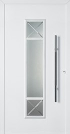 Hormann ThermoSafe White Entrance Door - Style 694, white detailing on glazed glass