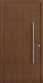 Hormann ThermoSafe Entrance Door - Style 861, wood effect, horizontally ribbed