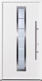 hormann tps 700 white front door with horizontal glazing strip and long handle