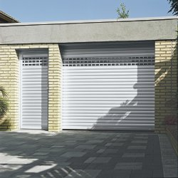 White garage door and side door shutter to match with vented slats