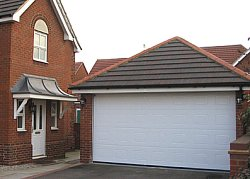 Hormann s panel georgian sectional double garage door in white