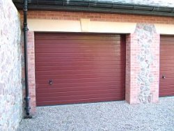LPU 40 ribbed woodgrain sectional doors in special colour