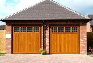 Hormann timber up and over garage doors in Leamington Spa in cedarwood