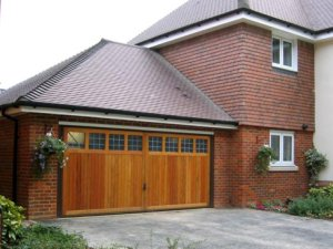 Timber double garage doors