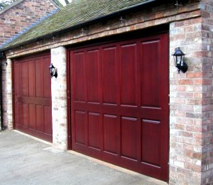 Pair of mahogany finished cedarwood garage doors Belper style