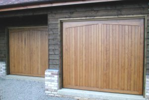 Gatcombe timber garage doors in Hemlock hardwood in Cambridgeshire available in oak or iroko