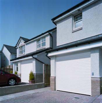 garador gararoll roller shutter garage door on driveway