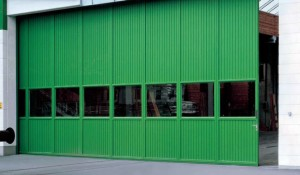 Green sliding door with windows