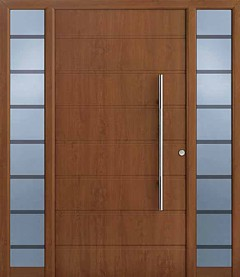 Hormann entrance door in golden oak with side light elements