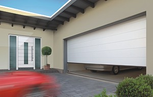 Matching front entrance door and sectional garage door