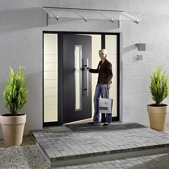 hormann thermopro steel aluminium entrance door with windows and side glazing glass in black