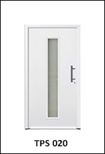 Hormann Thermopro TPS 020 plain smooth white front door for the home with central vertical glazing strip element