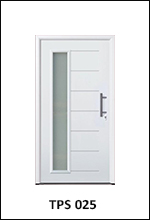 hormann tps 025 steel front entrance door with horizontal ribbed design and vertical left aligned window insert section