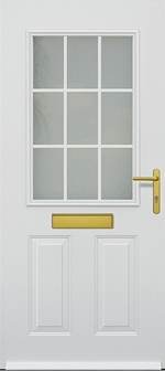 hormann tps 300 steel front entrance door with panelled glass sections and letterbox