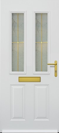 hormann tps 410 steel door with glazed framing sections, gold letterbox and gold handle section