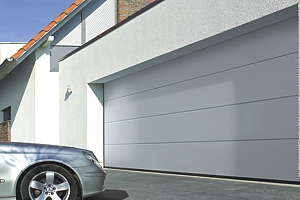 large space ribbed sectional garage door with sports car