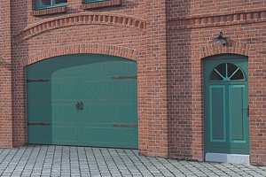 style 405 timber sectional door in green finish